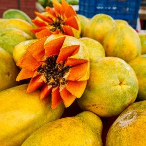 Papaya at a market in San Jose, Costa Rica