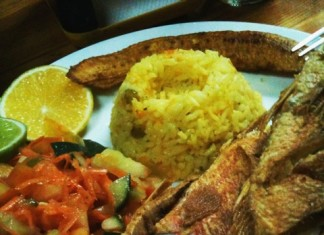 Red Snapper with Rice, Salad and Plantain