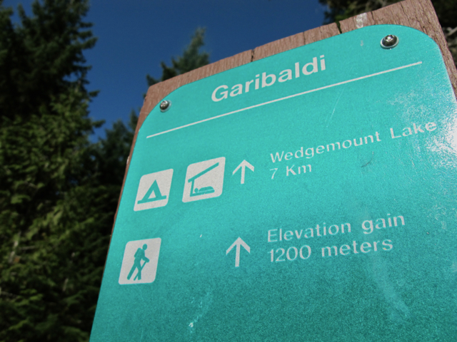 Hiking in Canada: Sign for Wedgemount Lake, BC Canada