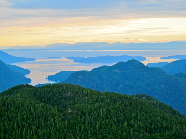 View from the top of Leading Peak on Anvil Island, Howe Sound BC (Canada)
