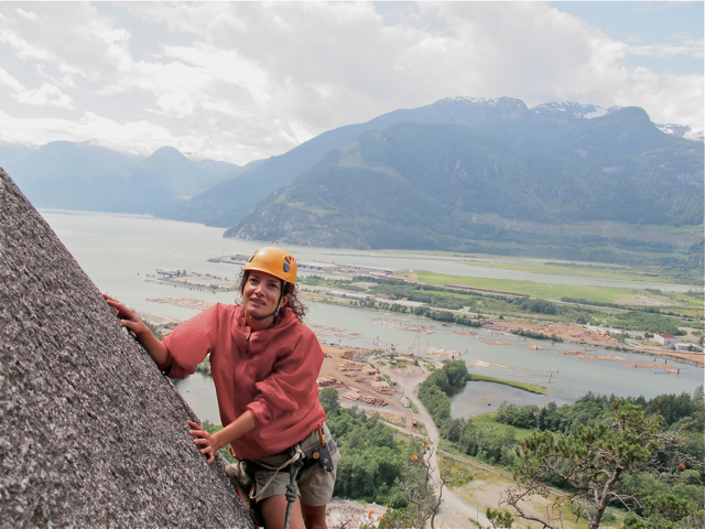 Me on Banana Peel, rock climbing in Squamish BC, Canada