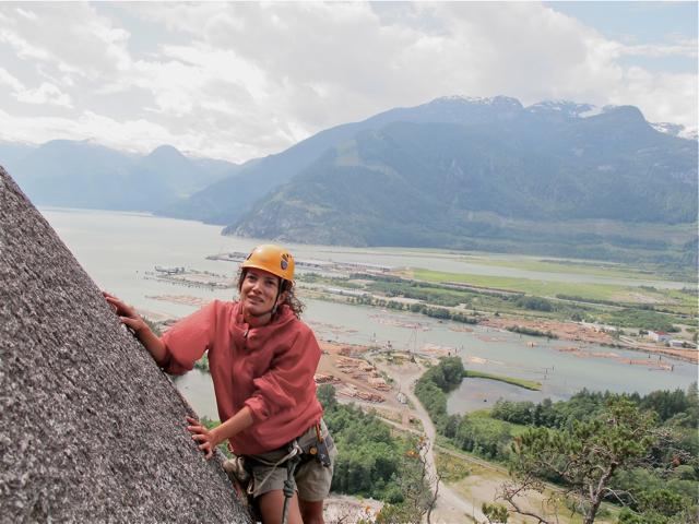 Me on Banana Peel, rock climbing in Squamish BC, Canada