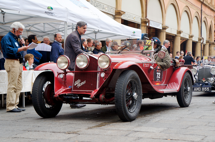 Giuseppe Ambrosi driving an Alfa Romeo from 1931 at the Mille Miglia