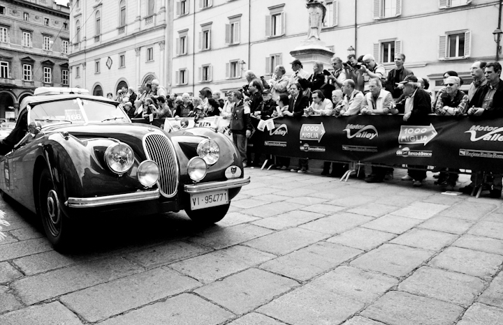 Jaguar from 1950 at Italy's Mille Miglia 2012 in Bologna