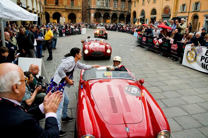 Sylvia Oberti driving a Siata (1951) at the MIlle Miglia 2012 in