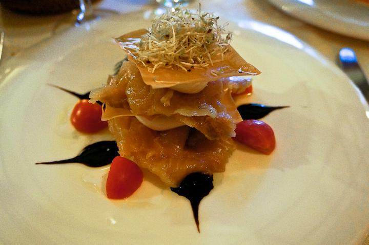Salmon & Goat Cheese Millefoglie with Dill at Locanda Agli Angeli in Gardone Riviera, Berscia (Italy)