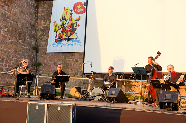 Live music at Montjuic's Open Air Cinema Festival in Barcelona