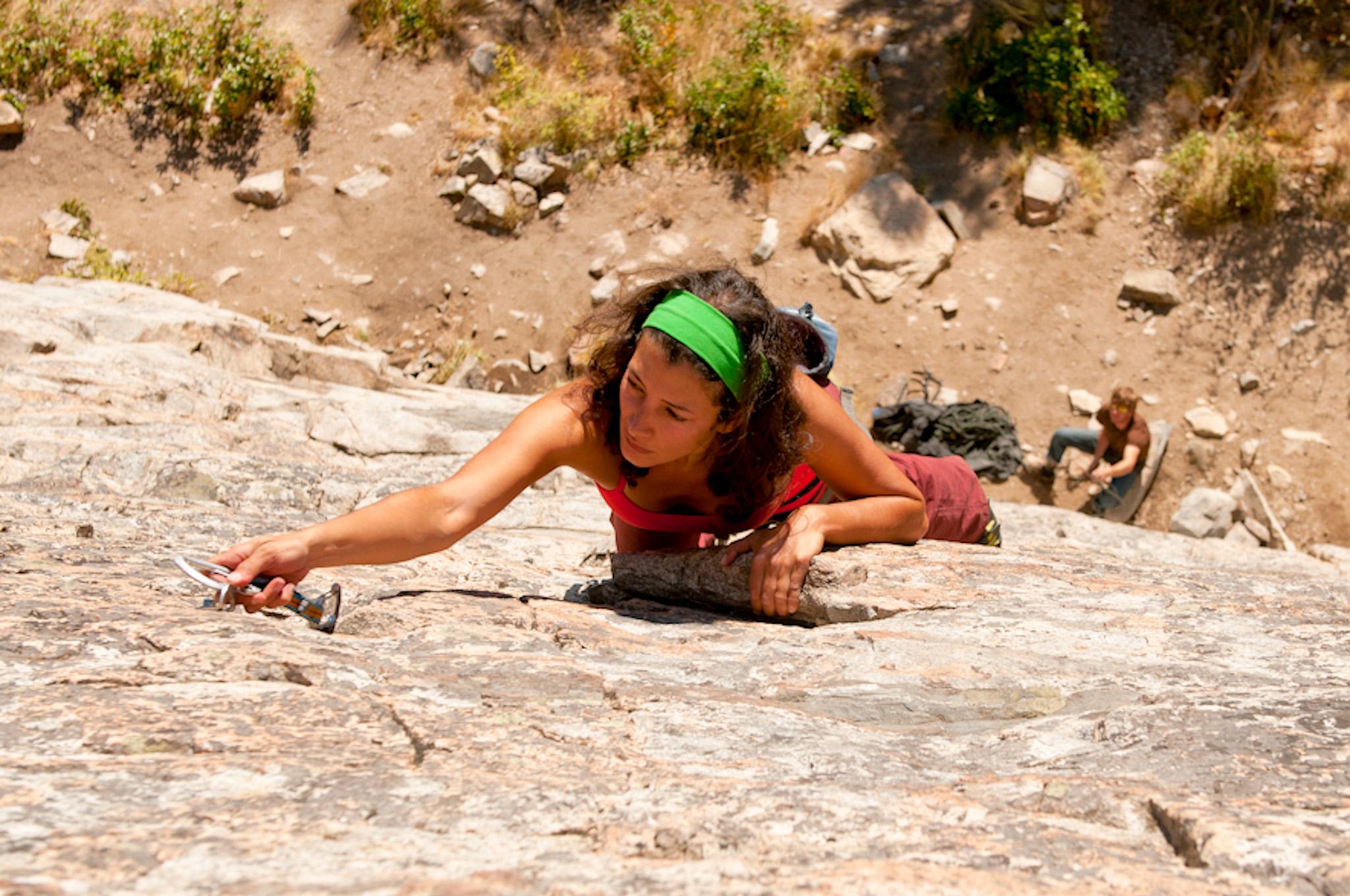 Bianca Bauza lead climbing in Skaha Bluffs, Penticton B.C.