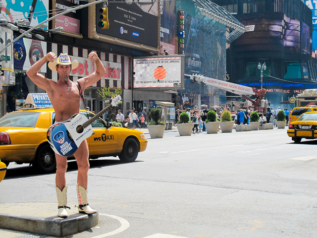 The Naked Cowboy in Times Square, New York