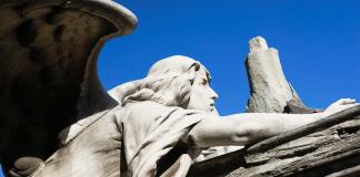 Angel sculpture at Montjuic's cemetery