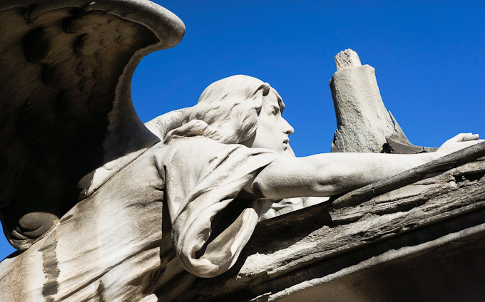 Angel sculpture at Montjuic's cemetery