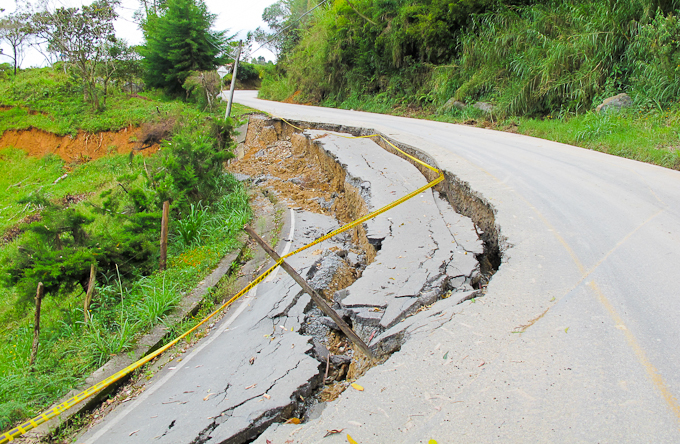 Travel in Colombia: Collapsed road
