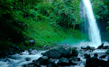 La Fortuna waterfall near Arenal volcano in Costa Rica