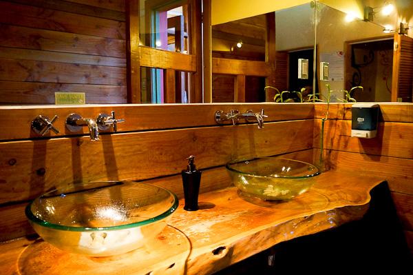 Bathroom at La Princesa Insolente hostel in Santiago, Chile
