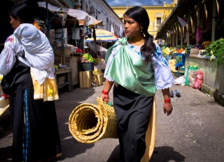 Shopping at the Otavalo market in Ecuador