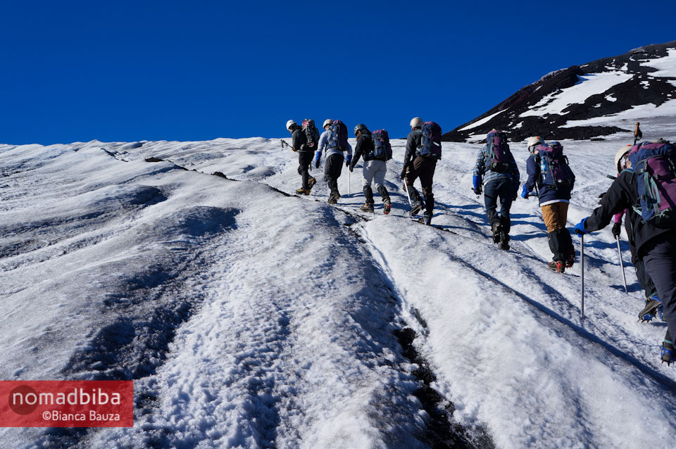 Climbing up the Villarrica volcano in Chile