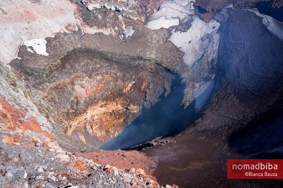 The crater of the Villarrica Volcano in Chile