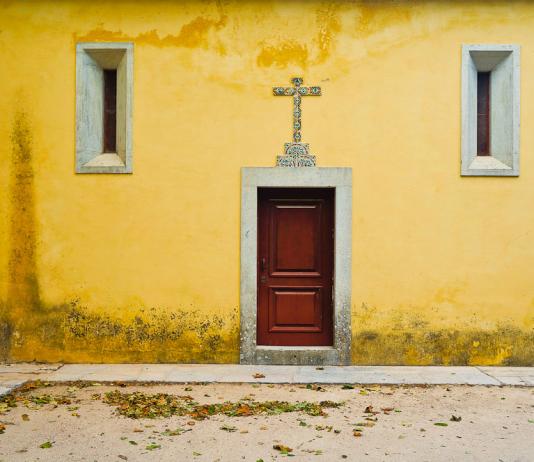 Yellow church in Sintra, Portugal