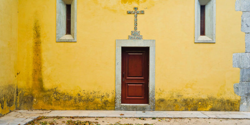 Yellow church in Sintra, Portugal