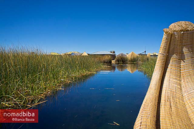On a reed boat to the Uros Islands in Lake Titicaca, Peru