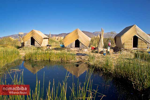 Totora houses in Lake Titicaca, Peru