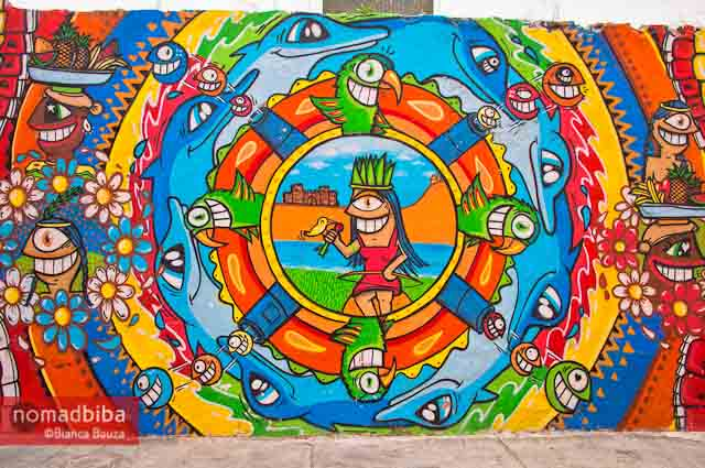 Mural by Pez in Cartagena, Colombia