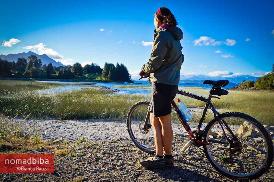 Bianca Bauza cycling around the Circuito Chico near Bariloche, Argentina