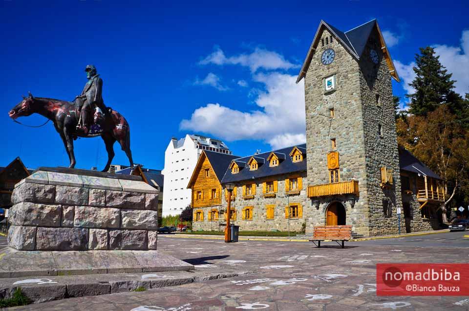 The main square in downtown Bariloche, Argentina