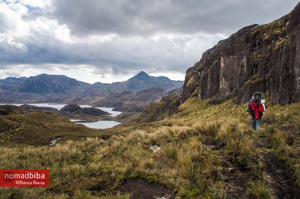 Hiking at El Cajas National Park in Ecuador