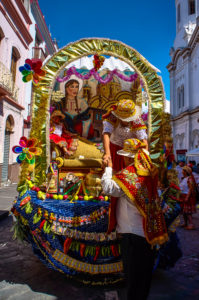 One of the floats at the Pase del Niño parade in Cuenca, Ecuad