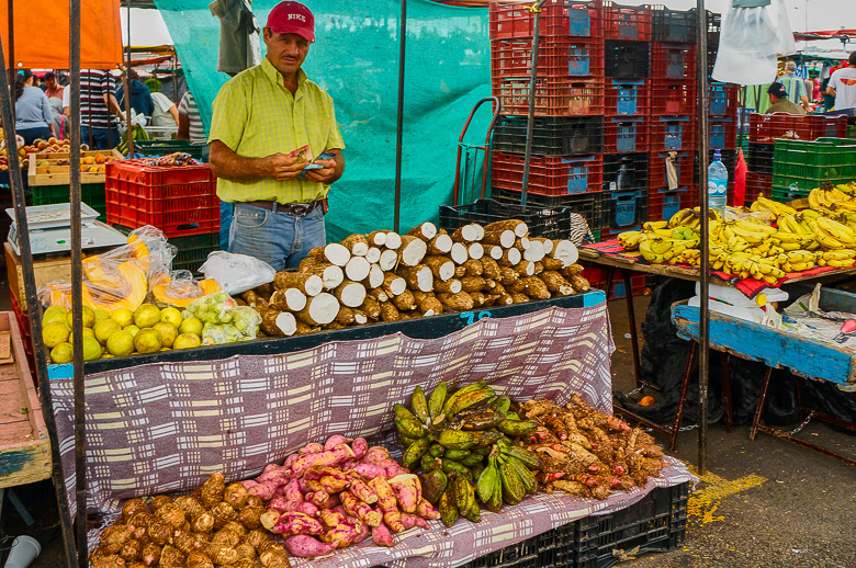Vegetable stand at a market in San Jose, Costa Rica