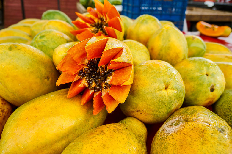 Papaya at a market in San Jose, Costa Rica