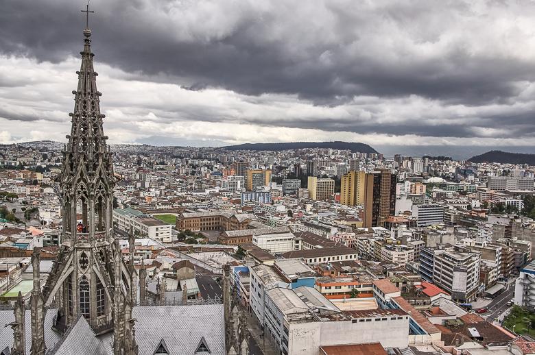 View from the Basílica del Voto Nacional in Quito, Ecuador