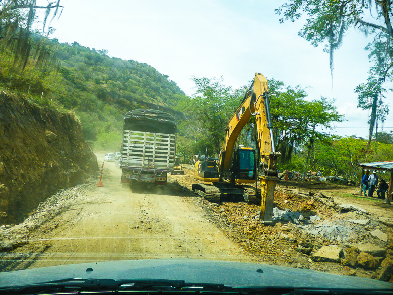 Works on the road between San Gil and Charalá, Colombia