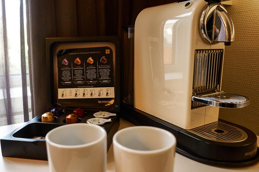Nespresso machine in my room at the Albus Hotel in Amsterdam