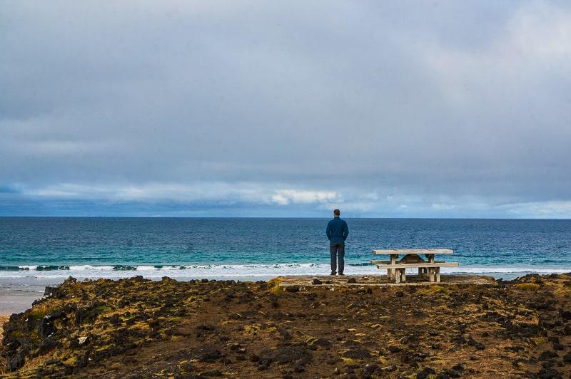 Admiring the views at Skarðsvík Beach, Iceland