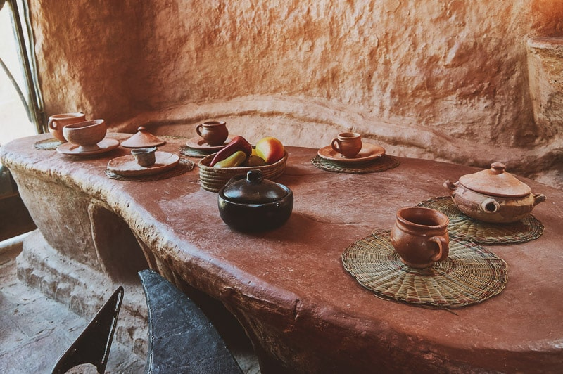 Table at Casa Terracota in Villa de Leyva, Colombia.