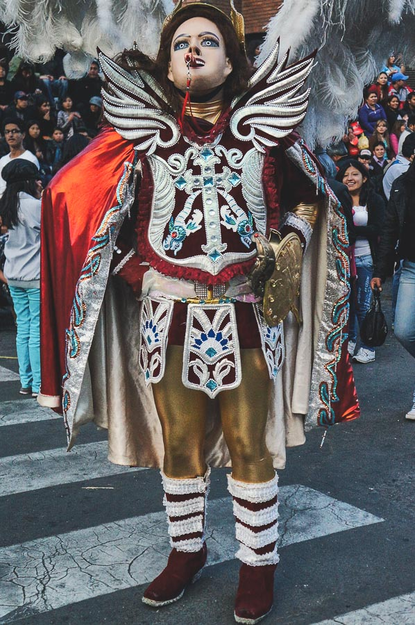 Diablada dancer at the Entrada Universitaria in La Paz, Bolivia