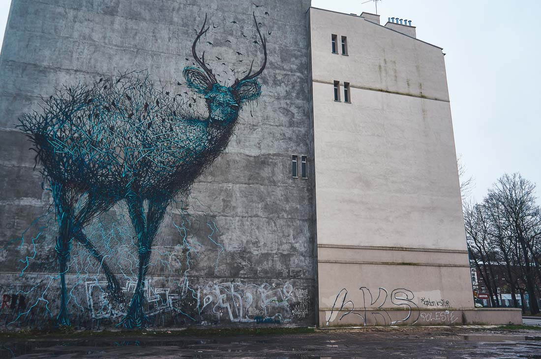 Daleast deer mural in Lodz, Poland