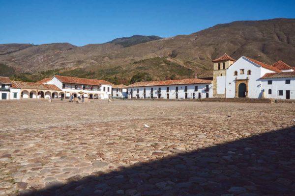 Main square in Villa de Leyva, Colombia